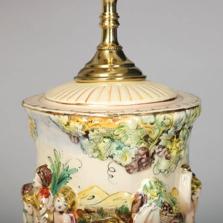 Capodimonte Porcelain Table Lamp : Pair of italian gilt and painted porcelain brass