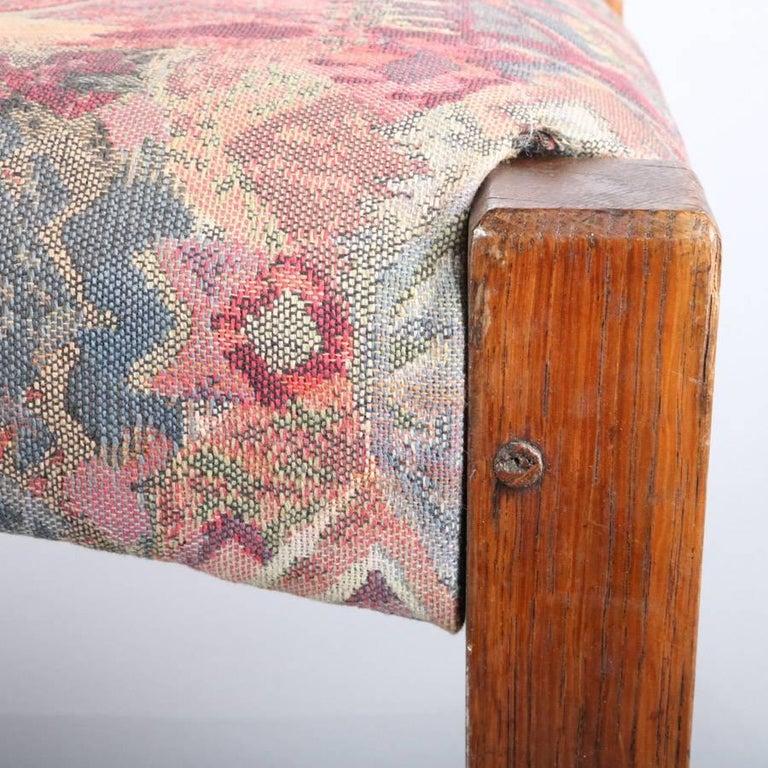 Antique Arts & Crafts Stickley Bros Mission Oak Upholstered Oak Footstool For Sale 1