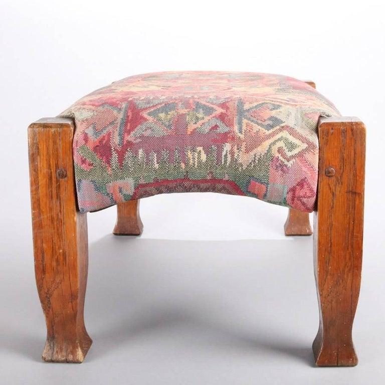 Arts and Crafts Antique Arts & Crafts Stickley Bros Mission Oak Upholstered Oak Footstool For Sale