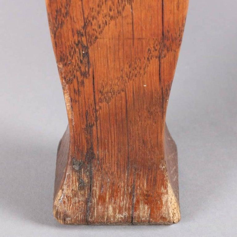 Upholstery Antique Arts & Crafts Stickley Bros Mission Oak Upholstered Oak Footstool For Sale