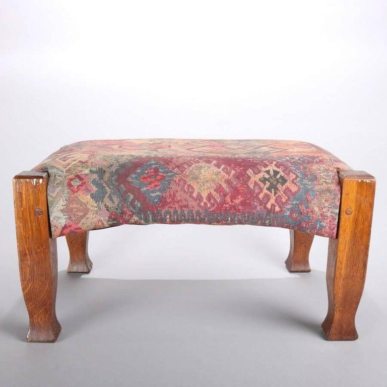 American Antique Arts & Crafts Stickley Bros Mission Oak Upholstered Oak Footstool For Sale