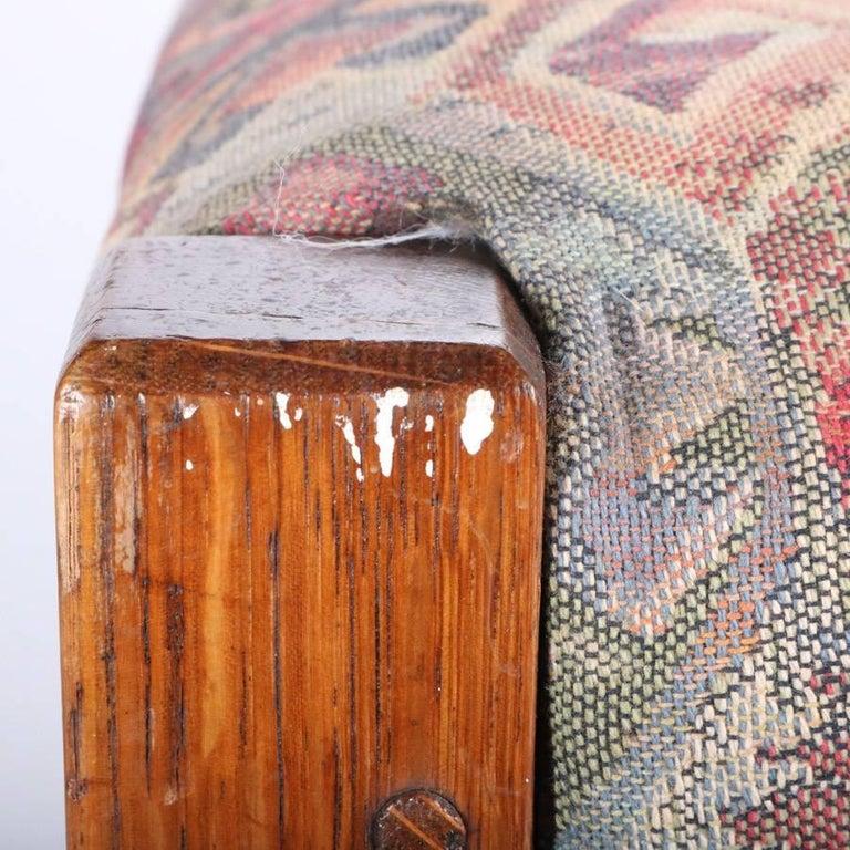 Antique Arts & Crafts Stickley Bros Mission Oak Upholstered Oak Footstool For Sale 2