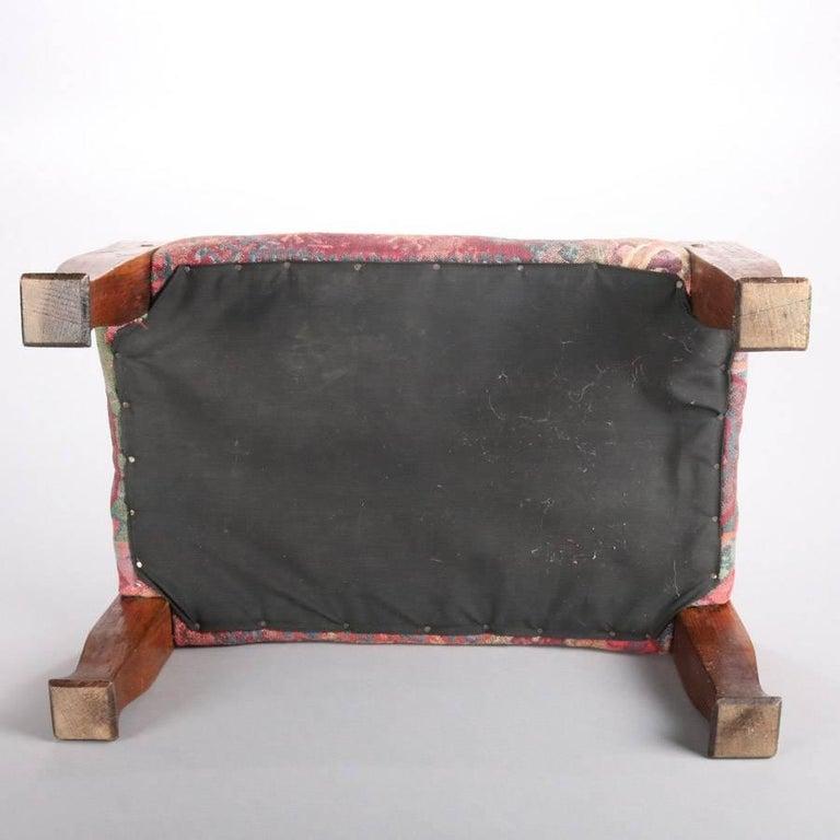 20th Century Antique Arts & Crafts Stickley Bros Mission Oak Upholstered Oak Footstool For Sale