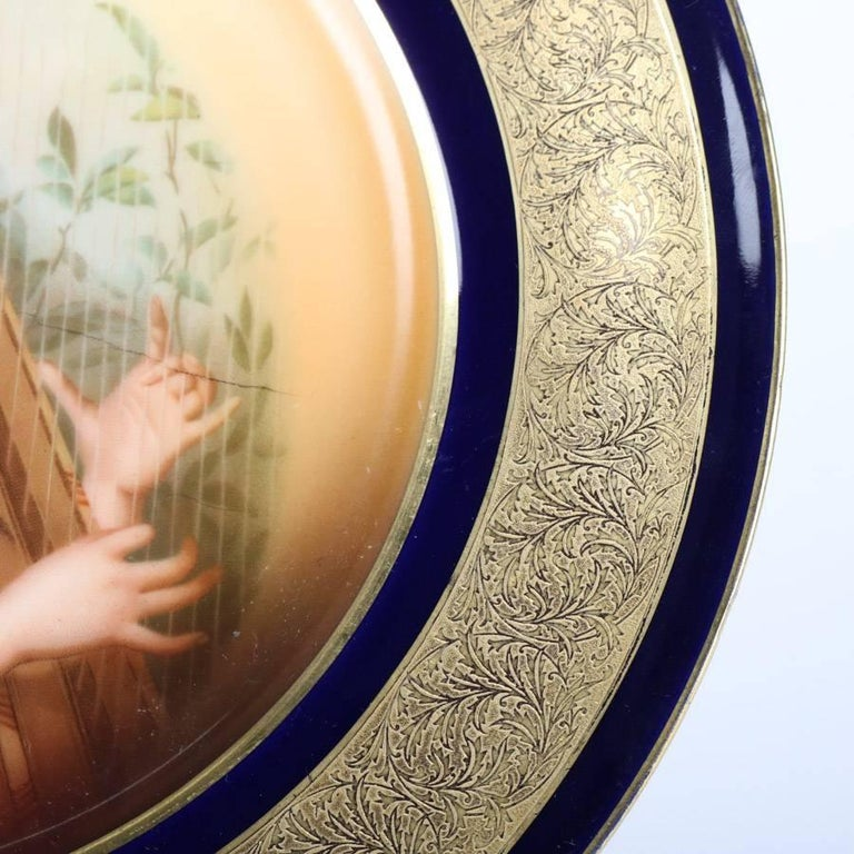 Antique German Hand-Painted and Gilt Porcelain Rosenthal Portrait Plate In Good Condition For Sale In Big Flats, NY