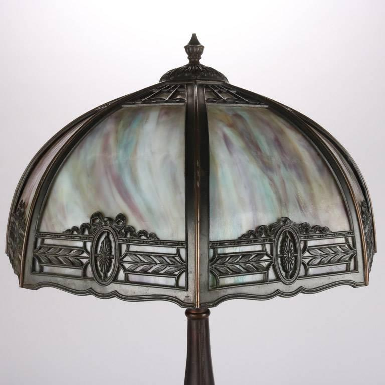 Arts and Crafts Antique Arts & Crafts Filigree Dual Light Slag Glass Table Lamp, 20th Century For Sale