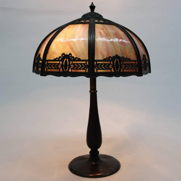 Antique Arts & Crafts Filigree Dual Light Slag Glass Table Lamp, 20th Century 2