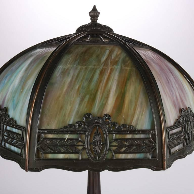 Antique Arts & Crafts Filigree Dual Light Slag Glass Table Lamp, 20th Century 4