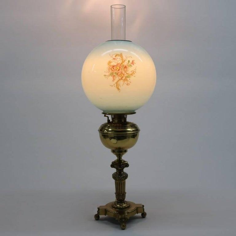Balmoral Tall Pedestal Lantern Light Antique Brass: Antique Brass Gone With The Wind Table Lamp With Hand