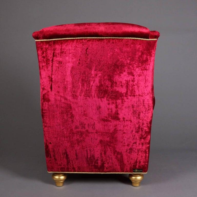 Italian Velvet Hollywood Regency Style Chair & Ottoman by La Contessina 5