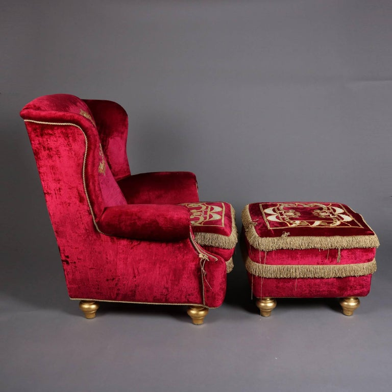 Italian Velvet Hollywood Regency Style Chair & Ottoman by La Contessina In Good Condition For Sale In Big Flats, NY