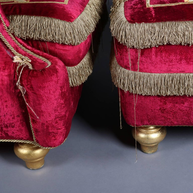 Italian Velvet Hollywood Regency Style Chair & Ottoman by La Contessina 8