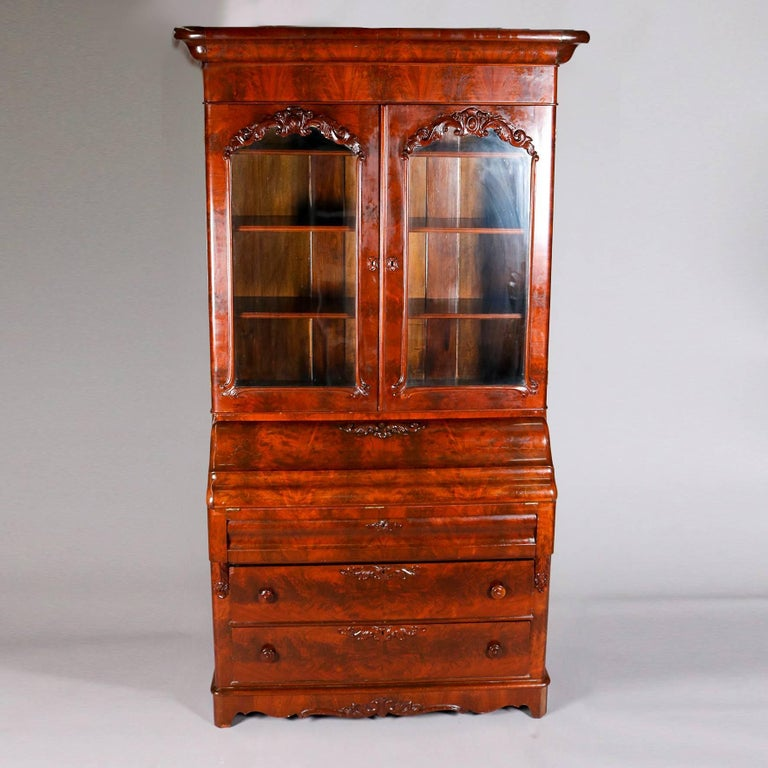 Antique American Empire Flame Mahogany Carved Slant Front Secretary 19th Century In Good Condition For Sale In Big Flats, NY