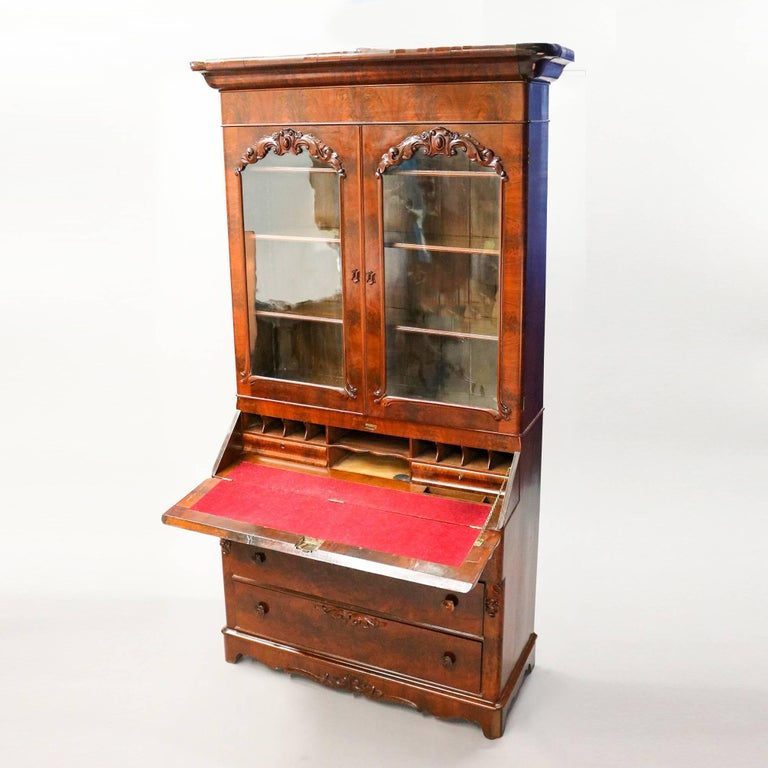 Glass Antique American Empire Flame Mahogany Carved Slant Front Secretary 19th Century For Sale