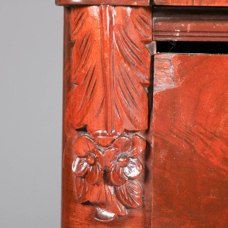 Antique American Empire Flame Mahogany Carved Slant Front Secretary 19th Century For Sale 2
