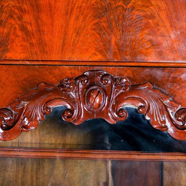 Antique American Empire Flame Mahogany Carved Slant Front Secretary 19th Century For Sale 1