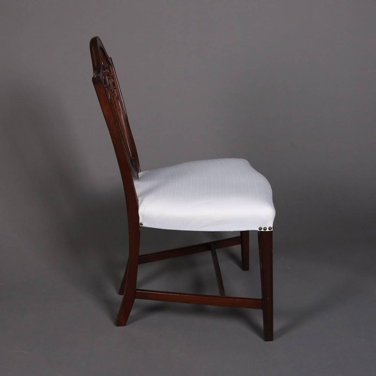 Federal Carved Mahogany Upholstered Shield Back Dining