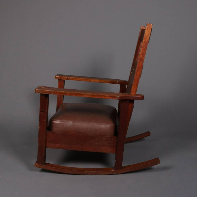 Arts and Crafts Antique Arts & Crafts Stickley Brothers Upholstered Rocking  Chair, Signed For Sale - Antique Arts And Crafts Stickley Brothers Upholstered Rocking Chair