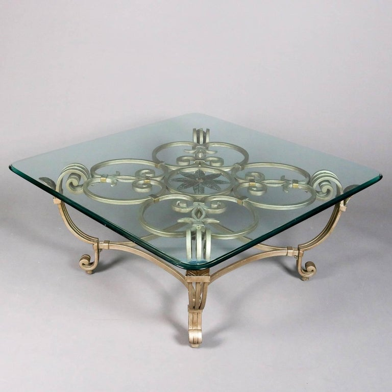 European Hollywood Regency Gilt Iron & Glass Fleur de Lis Table Set, 20th Century For Sale