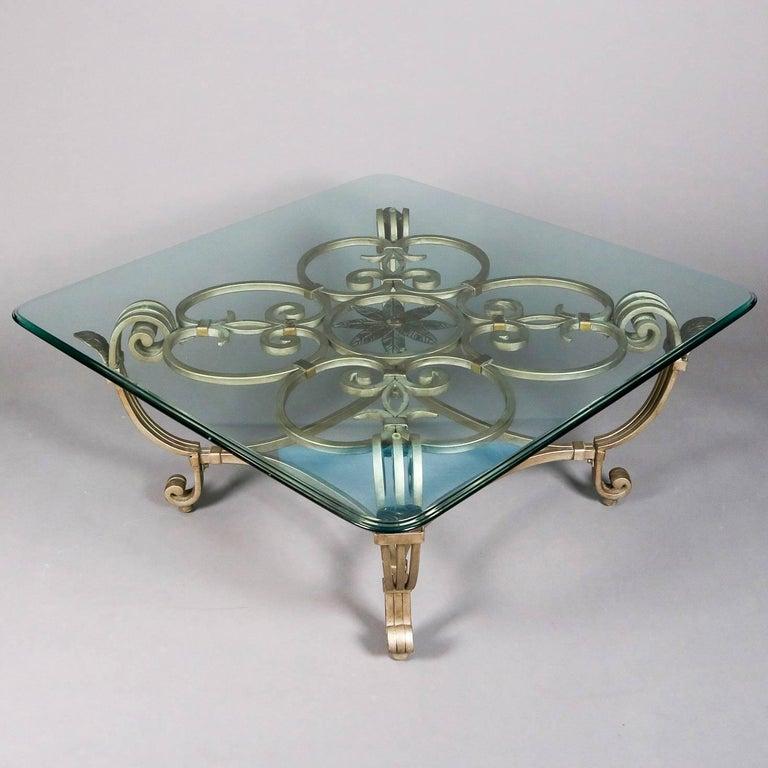 Wrought Iron Hollywood Regency Gilt Iron & Glass Fleur de Lis Table Set, 20th Century For Sale