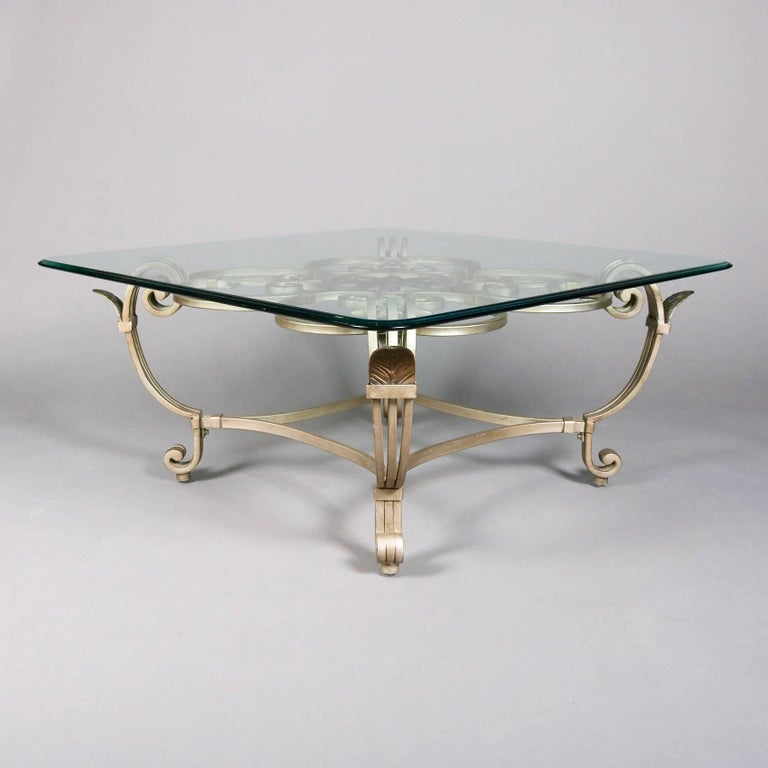 Hollywood Regency Gilt Iron & Glass Fleur de Lis Table Set, 20th Century In Good Condition For Sale In Big Flats, NY