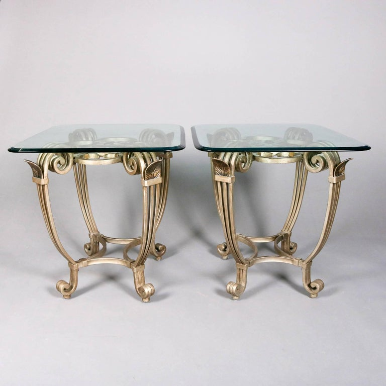 Hollywood Regency Gilt Iron & Glass Fleur de Lis Table Set, 20th Century For Sale 2