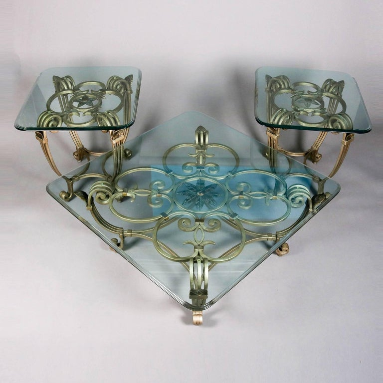 Hollywood Regency Gilt Iron & Glass Fleur de Lis Table Set, 20th Century For Sale 1