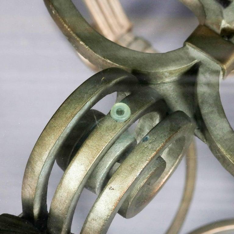 Hollywood Regency Gilt Iron & Glass Fleur de Lis Table Set, 20th Century For Sale 4