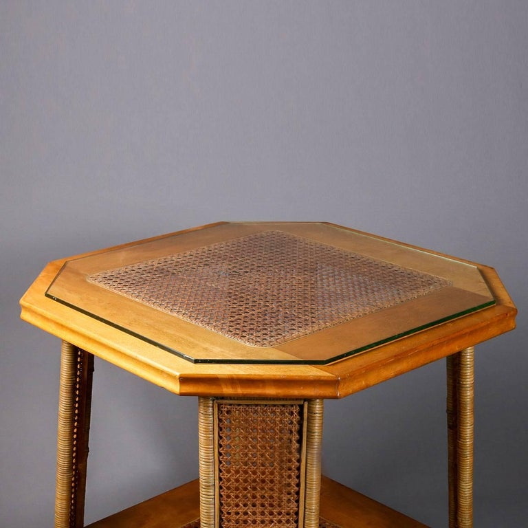 Heywood Wakefield Yewwood, Cane and Wicker Glass Top Lamp Stand, 20th Century For Sale 1