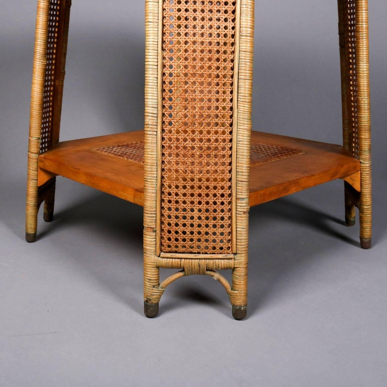 Heywood Wakefield Yewwood, Cane and Wicker Glass Top Lamp Stand, 20th Century For Sale 3