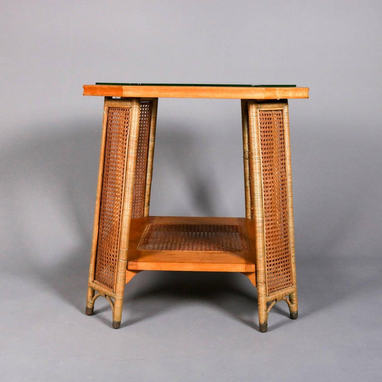 American Heywood Wakefield Yewwood, Cane and Wicker Glass Top Lamp Stand, 20th Century For Sale