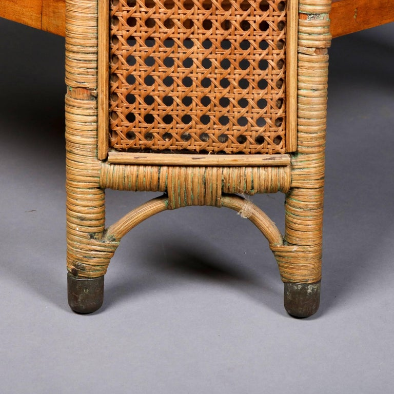 Heywood Wakefield Yewwood, Cane and Wicker Glass Top Lamp Stand, 20th Century For Sale 2