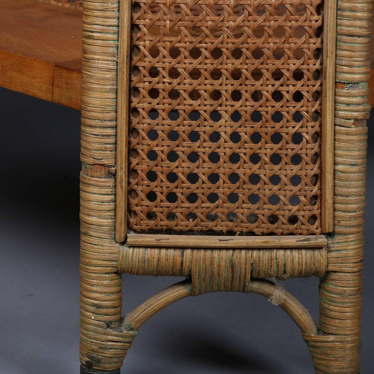 Heywood Wakefield Yewwood, Cane and Wicker Glass Top Lamp Stand, 20th Century For Sale 4