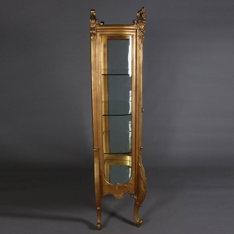 Glass Antique French Louis XIV Style Giltwood Mirror Back Bow Front Vitrine For Sale