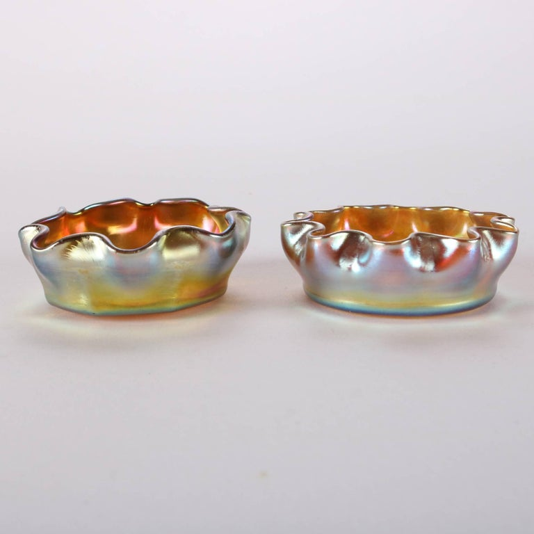 Hand-Carved Pair of Antique Louis Comfort Tiffany Gold Favrile Art Glass Salt Cellars