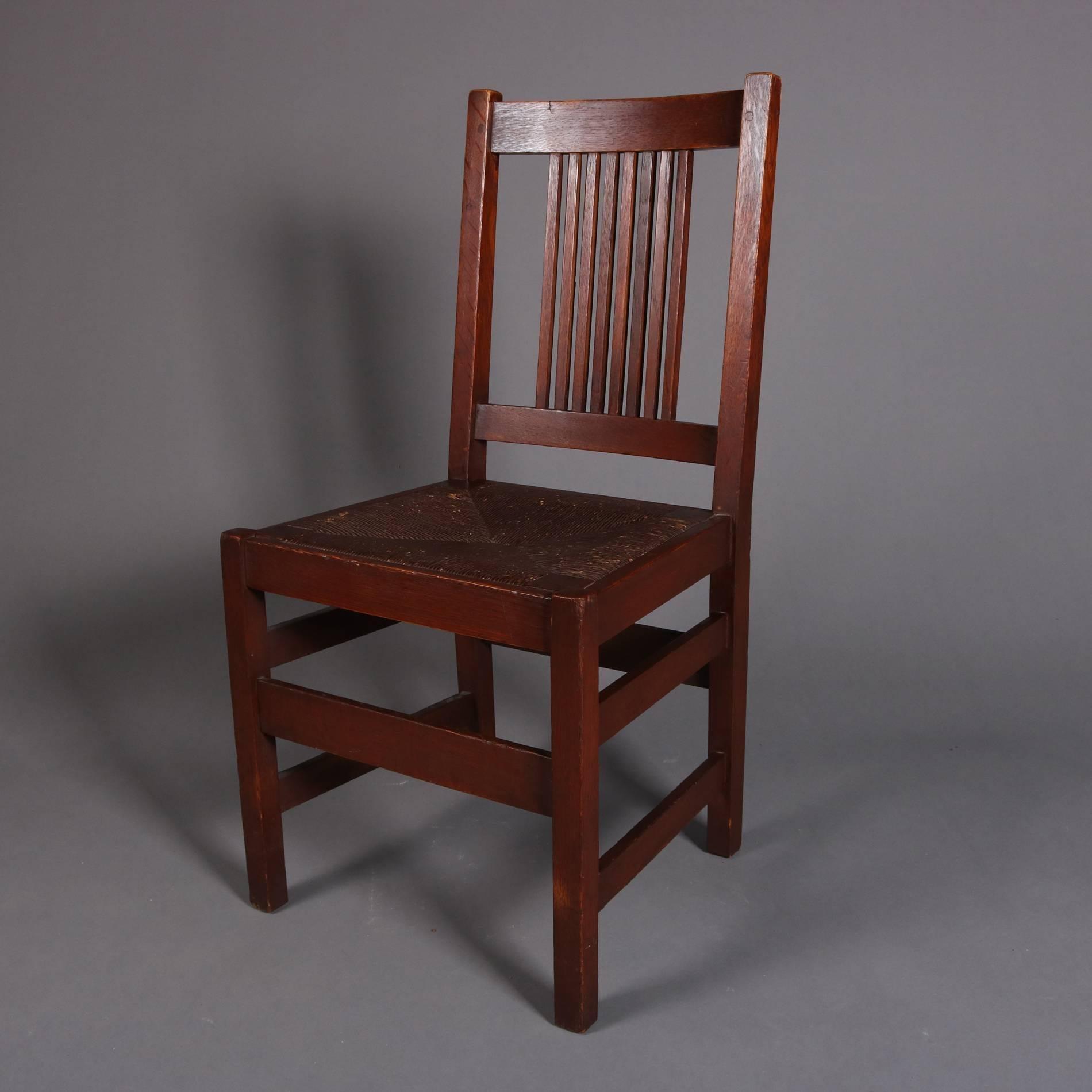 Four Antique Arts U0026 Crafts Mission Oak Chairs By L. U0026 J. G. Stickley  Feature Spindle