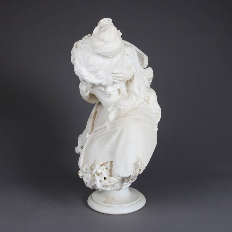 19th Century Oversized Antique Carved Alabaster Bust of Classical Cupid & Psyche For Sale