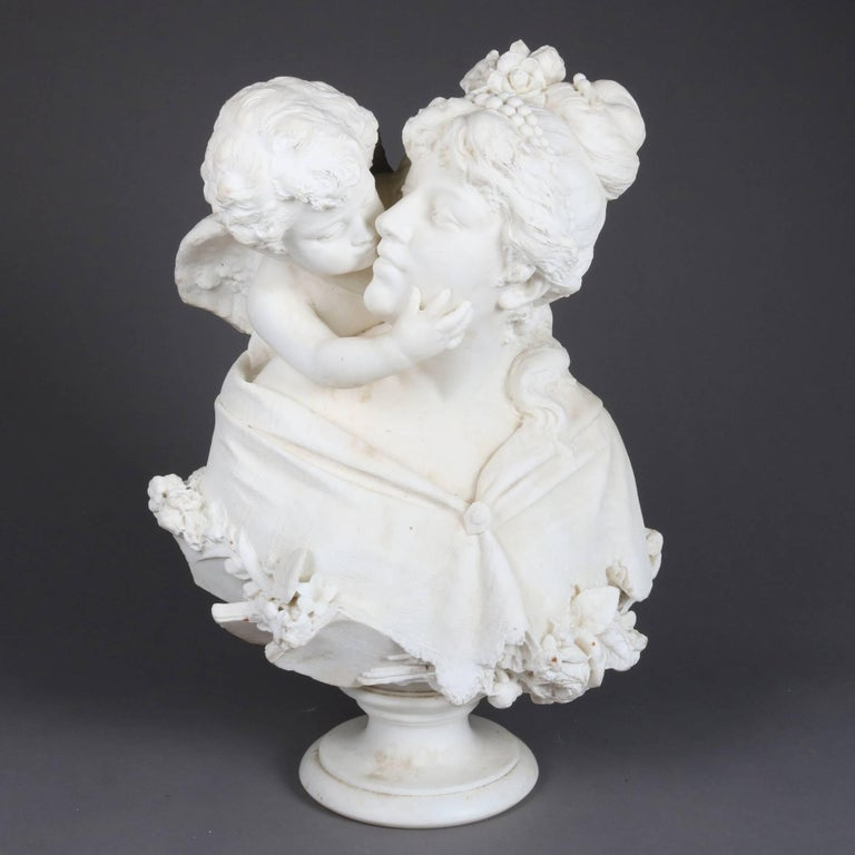 Oversized antique carved alabaster bust depicts Psyche and Amor, also known as Psyche Receiving Cupid's First Kiss (1798), by François Gérard, or Venus, Cupid, Folly, and Time (also called An Allegory of Venus and Cupid and A Triumph of Venus), an