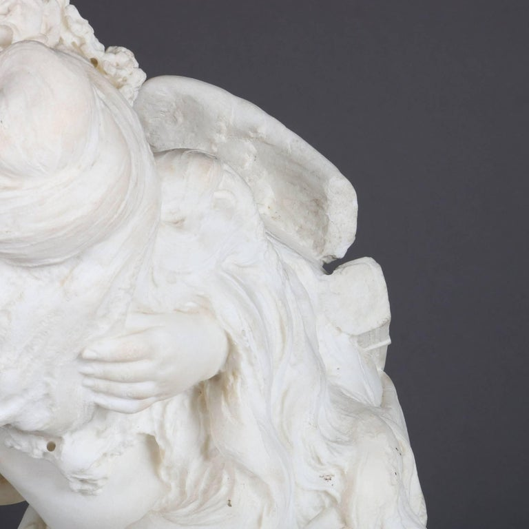 Oversized Antique Carved Alabaster Bust of Classical Cupid & Psyche In Good Condition For Sale In Big Flats, NY