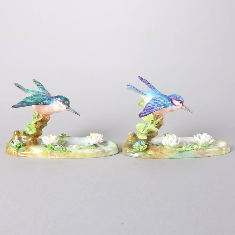 Pair of Antique English Staffordshire Porcelain J. T. Jones King Fishers In Good Condition For Sale In Big Flats, NY