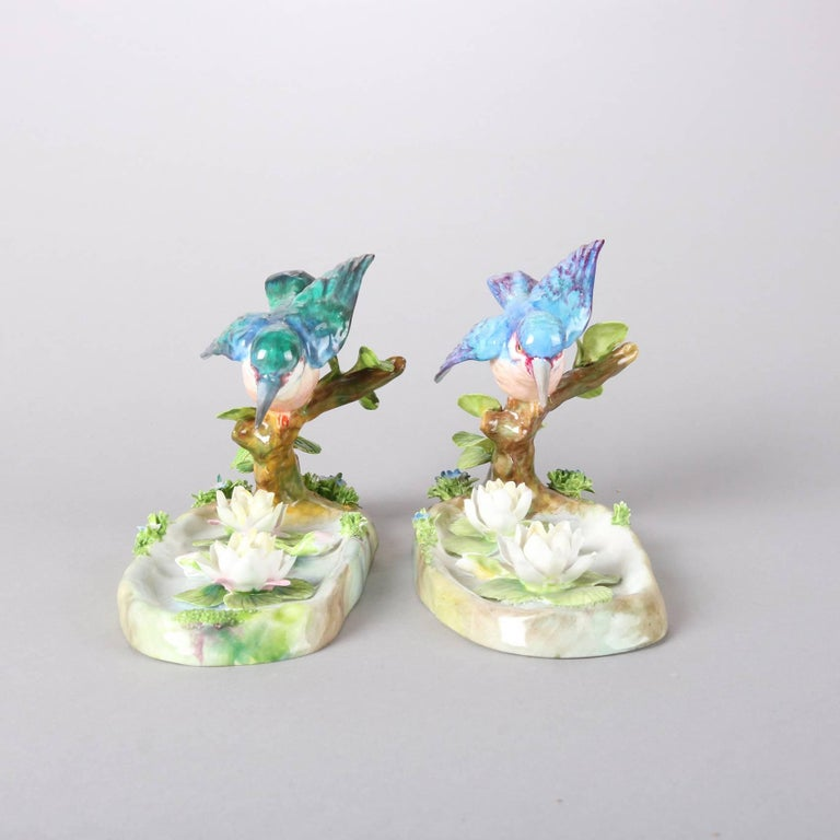 Hand-Painted Pair of Antique English Staffordshire Porcelain J. T. Jones King Fishers For Sale