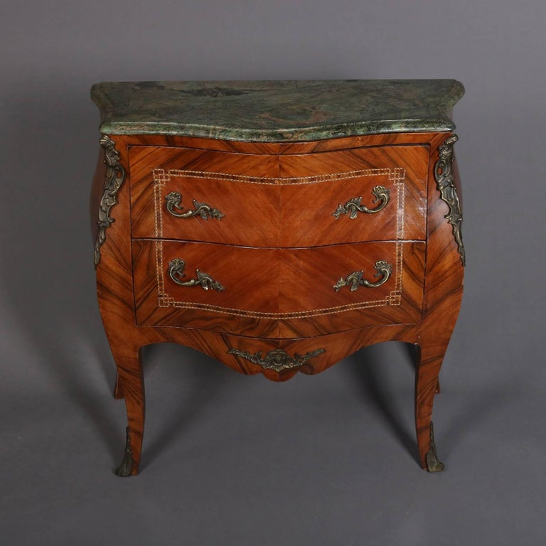 Antique French Louis Xiv Kingwood And Ormolu Marble Top