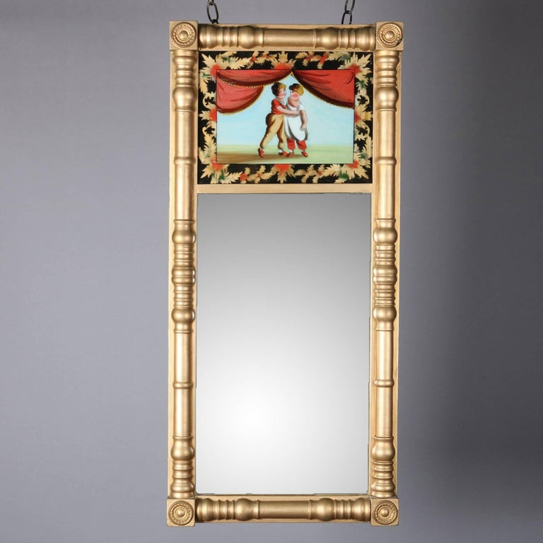 Hand-Painted Antique Giltwood and Églomisé Panel Federal Style Mirror, 20th Century For Sale