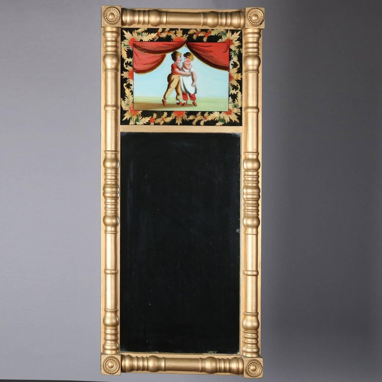 Antique Giltwood and Églomisé Panel Federal Style Mirror, 20th Century In Good Condition For Sale In Big Flats, NY