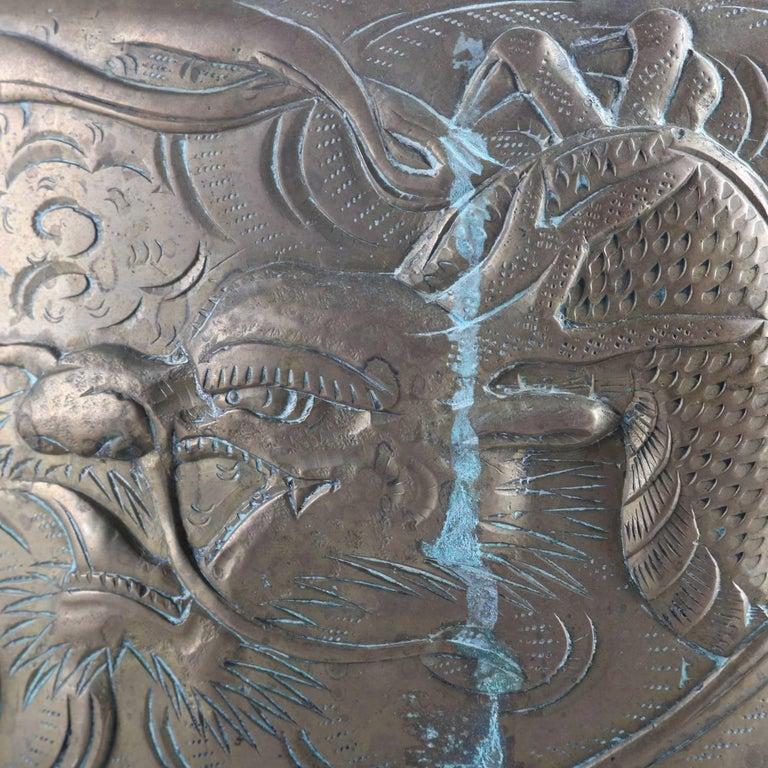 19th Century Large Antique Japanese Meiji Dragon & Tiger Embossed Bronze Ceremonial Cache Pot For Sale
