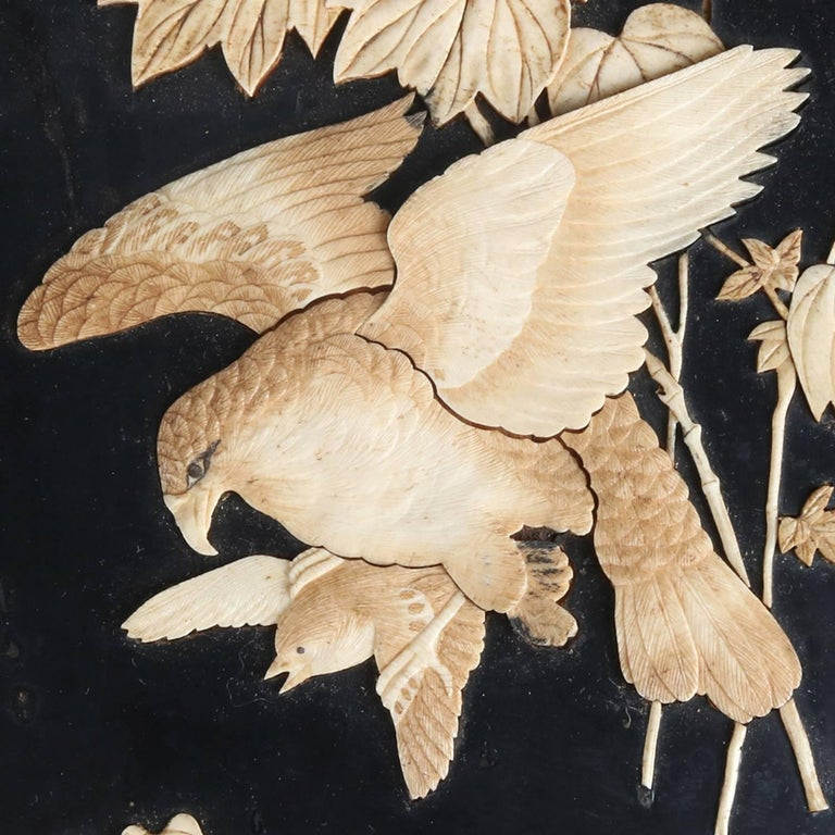 Hand-Carved Japanese Ebonized Plaque with Carved Bone Inlay, Falcon Hunt Scene, 20th Century For Sale