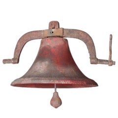 Early Antique Cast Iron School Bell by B.C. Taylor, Dayton, Ohio, 19th Century