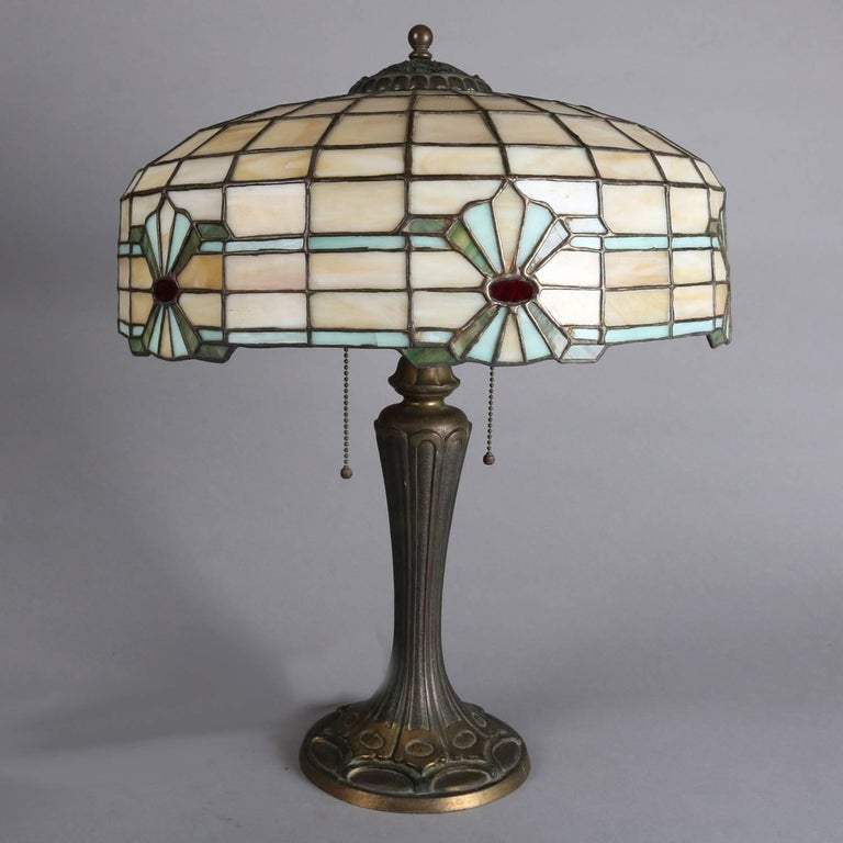 Arts And Crafts Mosaic Leaded Gl Table Lamp Bradley Hubbard School