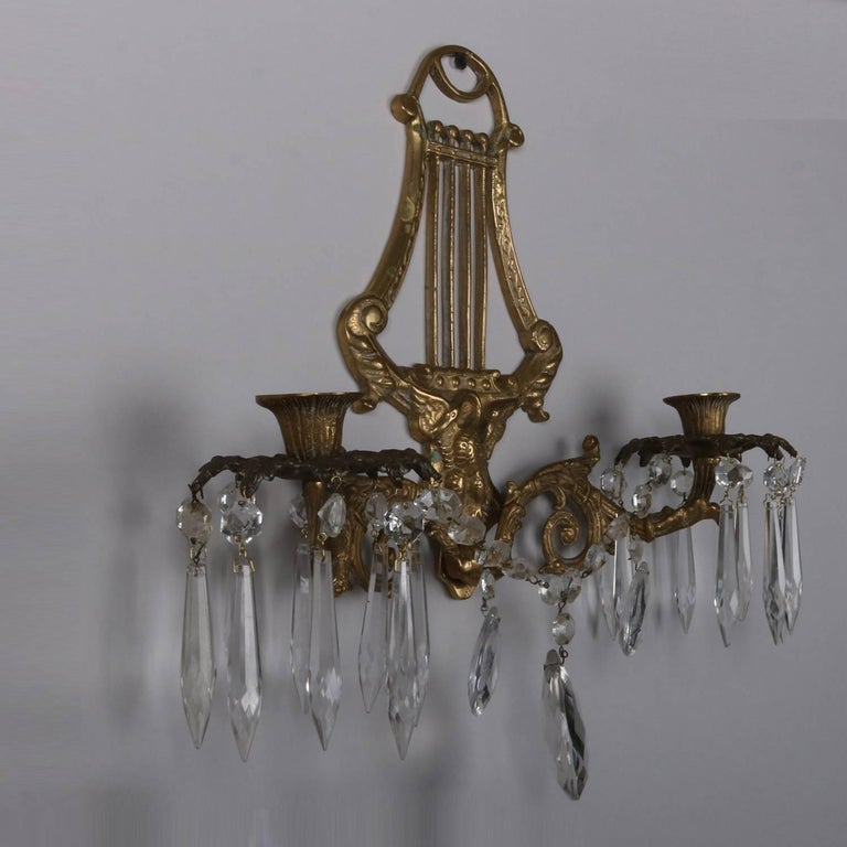 Pair of Bronze Cast Lyre and Swan Form Dual Light Crystal Sconces, circa 1930 For Sale 6