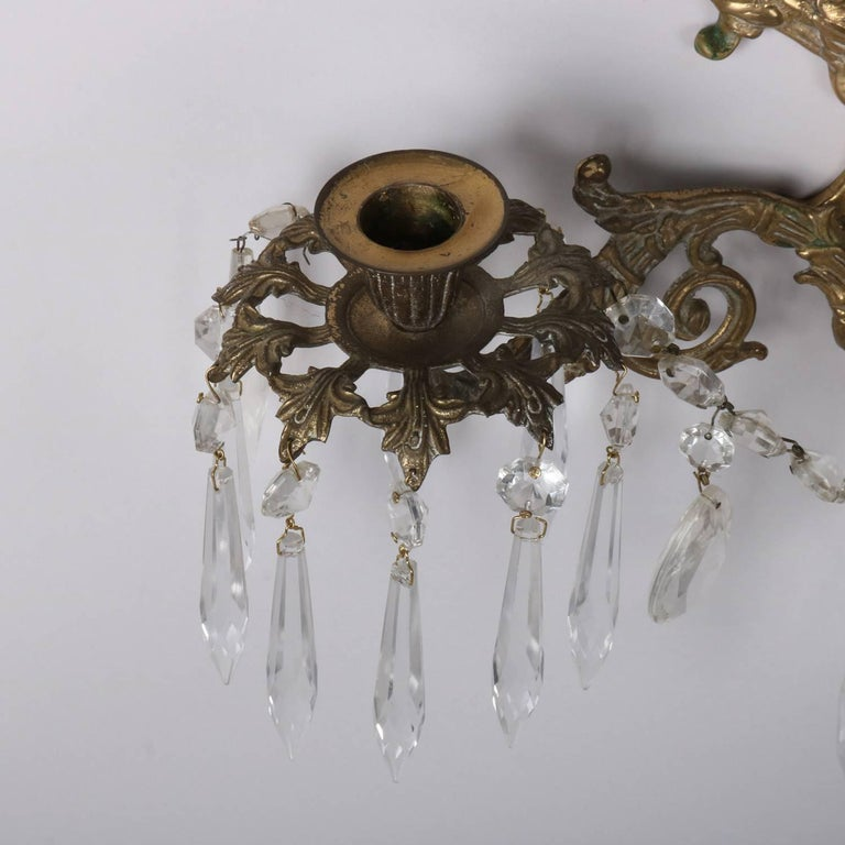 Pair of Bronze Cast Lyre and Swan Form Dual Light Crystal Sconces, circa 1930 For Sale 4
