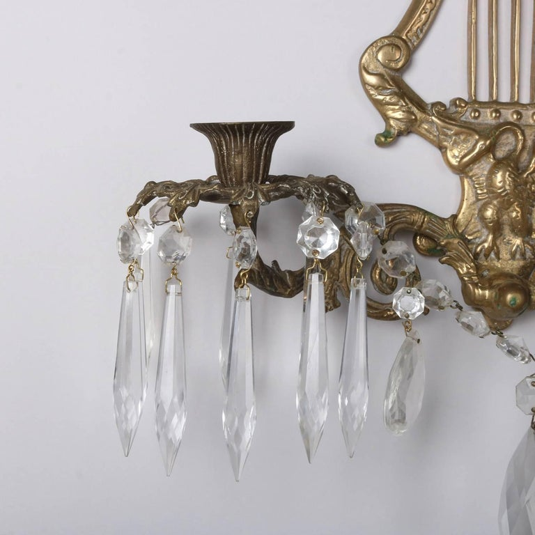 Pair of Bronze Cast Lyre and Swan Form Dual Light Crystal Sconces, circa 1930 For Sale 1